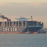 """CMA CGM Marco Polo"" departs from Southampton - 10/12/2012"