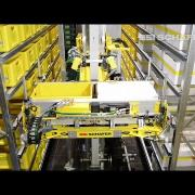 Storage and retrieval machine for totes, cartons and trays - Schäfer Miniload Crane