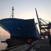 Maersk Line 2015 East-West Network: Munkebo Maersk in Dalian, China
